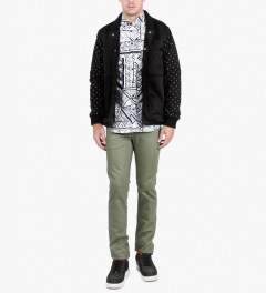 Naked & Famous Leaf Green Selvedge Chino Skinny Guy Jeans  Model Picutre