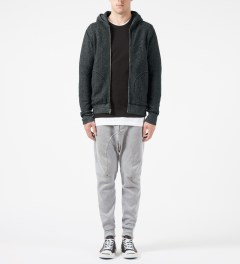 Reigning Champ Black/Natural RC-3257 Tiger Fleece L/S Zip Front Hoodie Model Picture