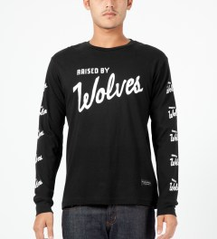 Raised by Wolves Black Varsity Logo L/S T-Shirt Model Picture