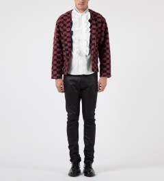 FACETASM Red/Navy Block Check Cardigan Model Picture