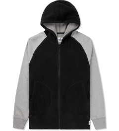 Reigning Champ Black/Heather Grey RC-3266 Polartec L/S Zip Front Hoodie Picture