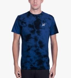HUF Royal Blue Small Script Crystal Wash T-Shirt Model Picutre