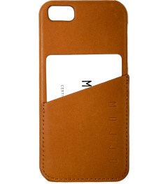 MUJJO Tan Leather iPhone 5 Wallet Case Model Picture