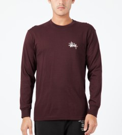 Stussy Wine Basic Logo L/S T-Shirt Model Picture