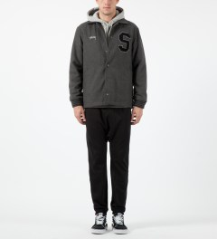 Stussy Charcoal Wool Coaches Jacket Model Picture