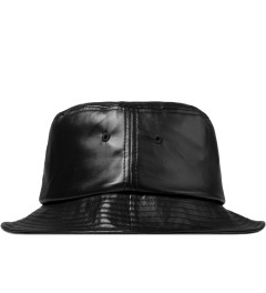 Stussy Black SS Link Leather Bucket Hat Model Picutre
