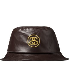 Stussy Brown SS Link Leather Bucket Hat Picutre