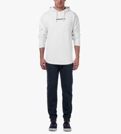Midnight Studios White Logo Lightweight Hoodie Model Picutre