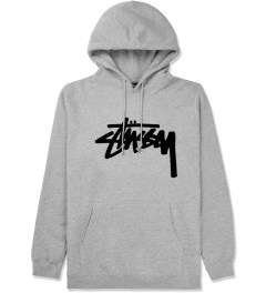 Stussy Heather Grey Velvet Stock Hoodie Picture