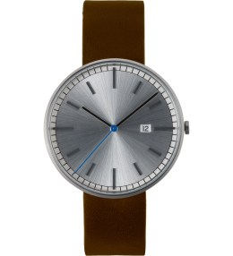 Uniform Wares Brushed/Brown Leather 203 Series Calendar Wristwatch Picture