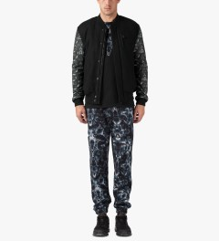 Marcelo Burlon Black Snake Print Bomber Jacket Model Picture