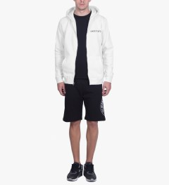 Undefeated White Block Basic Zip Hoodie Model Picutre