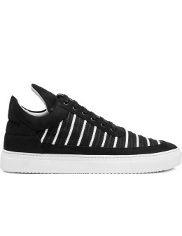 Filling Pieces Black/White Mesh Striped Low Top Shoes Picture