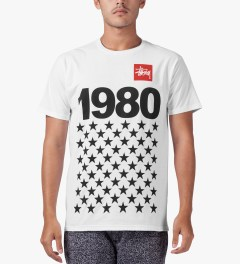 Stussy White 1980 Stars T-Shirt Model Picture