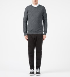 Reigning Champ Charcoal RC-3262 Heavyweight Terry L/S Crew Sweatshirt W/ Side Zip Model Picture