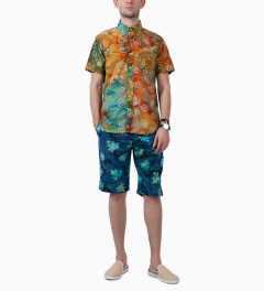 Mark McNairy Green SS BD GREEN BATIK SHIRT Model Picutre