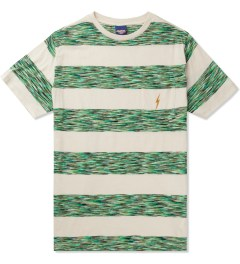 Lightning Bolt Ice Green Mirror Bold Stripes Pocket T-Shirt Picture