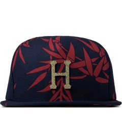 HUF Navy Hammered Metal H Bamboo Strapback Cap Picture