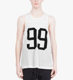 Stampd White 99 Tank Jersey Model Picutre