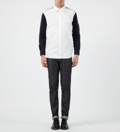 Liful White Colorblock Zip-Pocket Shirt Model Picture
