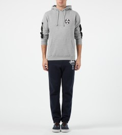 Stussy Heather Grey Worldwide Dot Hoodie Model Picture