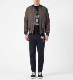 Stussy Black Camo App World Tour Crewneck Sweater Model Picture