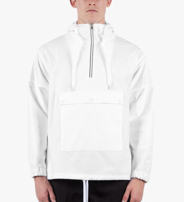White Hooded Windbreaker Shirt