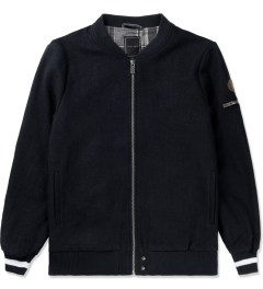 i love ugly. Navy Wool Melton Bomber Jacket Picture