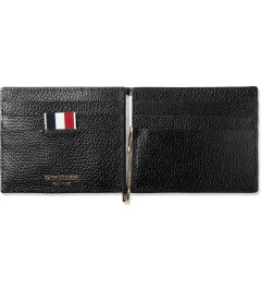 Thom Browne Black Grained Leather Bi-Fold Wallet w/ Money Clip Model Picutre