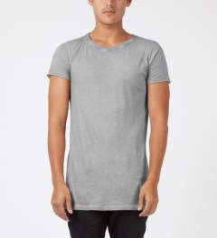 SILENT Damir Doma Grey Teylis Oval Neck T-Shirt Model Picture