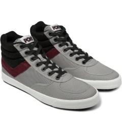 PONY Light Grey/Burgundy Slamdunk VULC Hi Sneakers Model Picutre