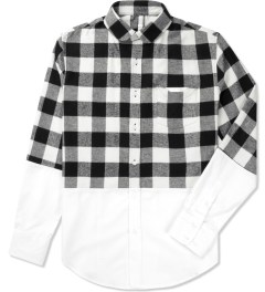 Munsoo Kwon White/Black Two-tone Buffalo Check Shirt Picutre