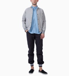 Mark McNairy Sky Navy SS BD REVERSIBLE MESH SHIRT Model Picutre