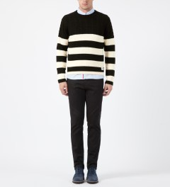 FUCT SSDD White/Black Cable Knit Sweater Model Picture