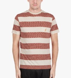 Lightning Bolt Pompeian Red Mirror Bold Stripes Pocket T-Shirt Model Picture