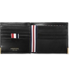 Thom Browne Black Grained Leather Bi-Fold Wallet Model Picutre
