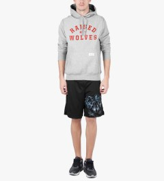 Raised by Wolves Heather Grey College Pullover Hoodie Model Picture