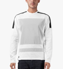 AMH White Reflective Block Panel L/S T-Shirt Model Picture