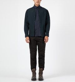 Penfield Navy Bawler Collarless Overshirt Model Picture