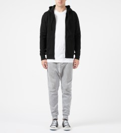 Reigning Champ Black RC-3260 Heavyweight Terry L/S Zip Front Hoodie Model Picture