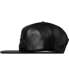Stampd Black 3 Zipper Leather Snapback Cap Model Picture
