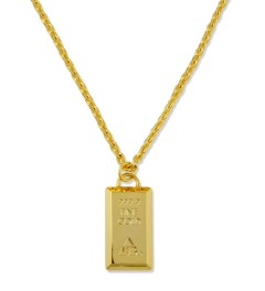 AMBUSH® Gold/Gold Bar Pendant Necklace Model Picture