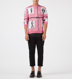 Carven Pink Molleton Print Passports Crewneck Sweater Model Picture