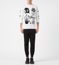 Stussy White Crown Collage Crewneck Sweater Model Picture