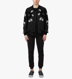 3.1 Phillip Lim Midnight Floral Loop Embroidery Loose Fit Zip Up Jacket Model Picutre
