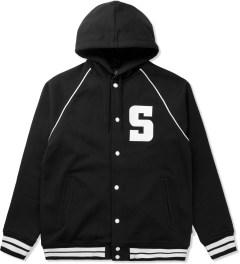 Stussy Black Hooded S Varsity Jacket Picutre