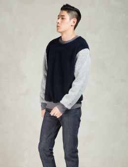 Christopher RAEBURN Navy/Grey Fleece Crew Picture