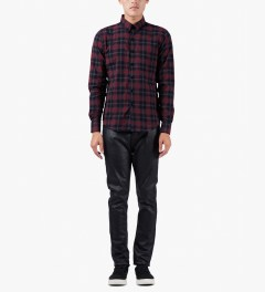 Naked & Famous Red/Navy Shadow Check Slim Shirt Model Picutre