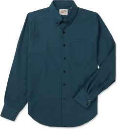 Naked & Famous Petrol Blue Twisted Yarn Slim Shirt Picutre