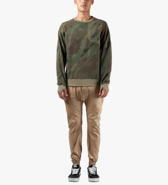 maharishi Olive Woodland Disruptive Asym Vent Crewneck Sweater Model Picture